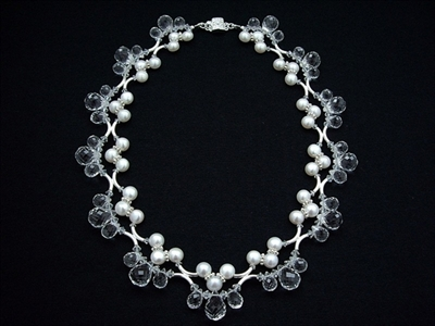 Picture of Clear Quartz, Swarovski Crystals, Fresh Water Pearls and 925 Silver Components