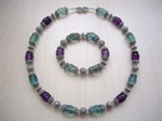 Picture of Green and Purple Fluorite, Swarovski Crystals and 925 Silver Components