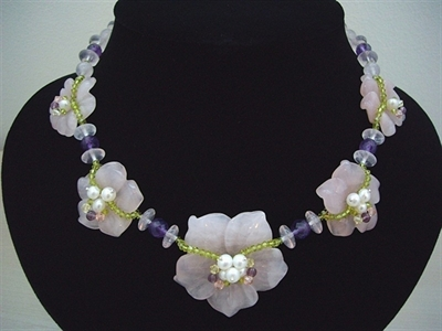 Picture of Amethyst, Rose Quartz, Swarovski Crystals, Fresh Water Pearls and 925 Silver Components