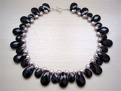 Picture of Fresh Water Pearls and Black Onyx and 925 Silver Components