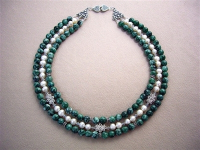 Picture of Marcasite with 925 Silver Components, Swarovski Crystals, Fresh Water Pearls and Green Agate