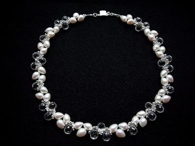 Picture of Fresh Water Pearls, Clear Quartz and 925 Silver Components